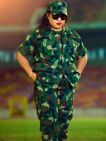 Regina Daniels' Mum poses in Camouflage, reveals she's now a Military Ambassador